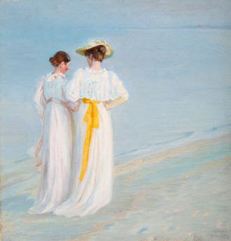 Michael Ancher: Anna Ancher and Marie Krøyer going for an Evening Walk along Sønderstrand. (1897) | Anchers Hus | Skagens Kunstmuseer | Art Museums of Skagen