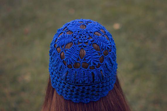 Crochet Dressy Hat Vintage Floral Beanie Women's