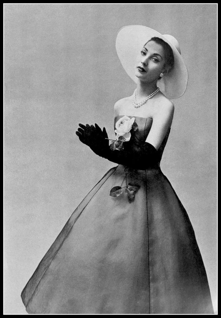 1957 - Renée Breton in Christian Dior white organza dress under a layer of black voile, photo by Georges Saad
