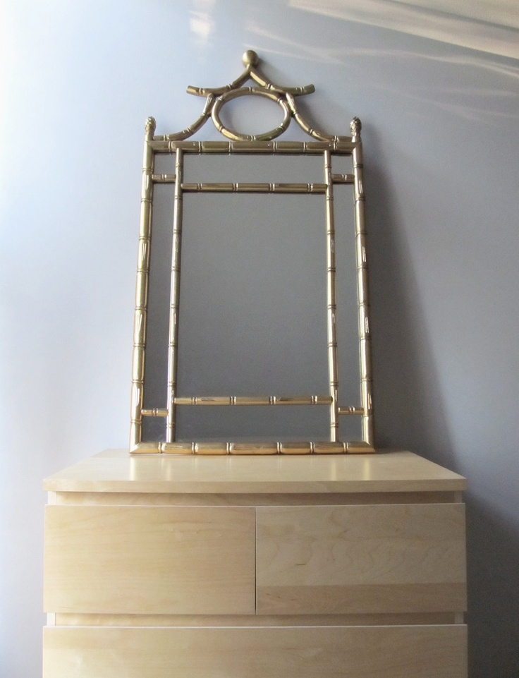 Reserved gold gilt wall mirror faux bamboo hollywood for Hollywood regency wall decor