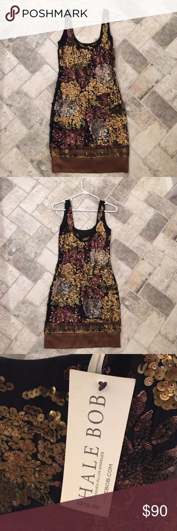 """Hale Bobo brown sequin dress Never worn sequin dress. Stretchy material. Im 5'5"""" and it lays just above my knee. Im also 130 and it fits fine for an XS Hale Bob Dresses Mini"""