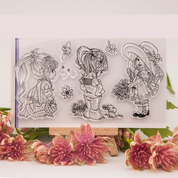 Cartoon Girl Clear Stamps Scrapbook DIY Photo Album Account Transparent Silicone Rubber cartoon seal handwork art gift