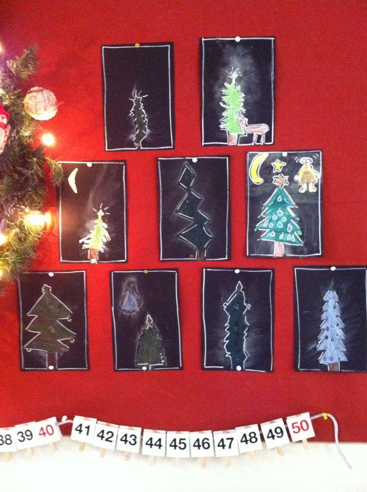 Kerstbomen met potlood en krijt