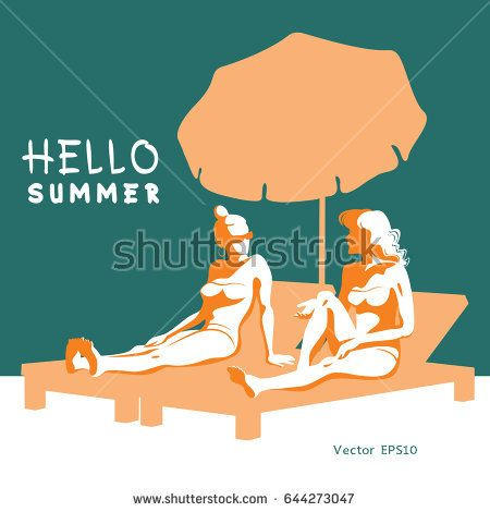 Two beautiful young women in bikini relax sitting and talking on a lounger with a beach umbrella. Vector illustration.