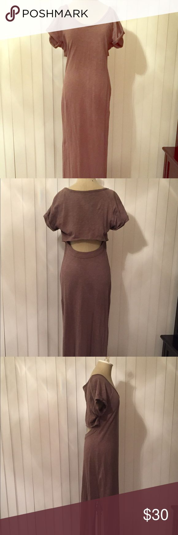 Free people brown maxi dress Very gently used with an awesome open back!! Looks great with flip flops, sandals or wedges. This is 100% cotton. Free People Dresses Maxi