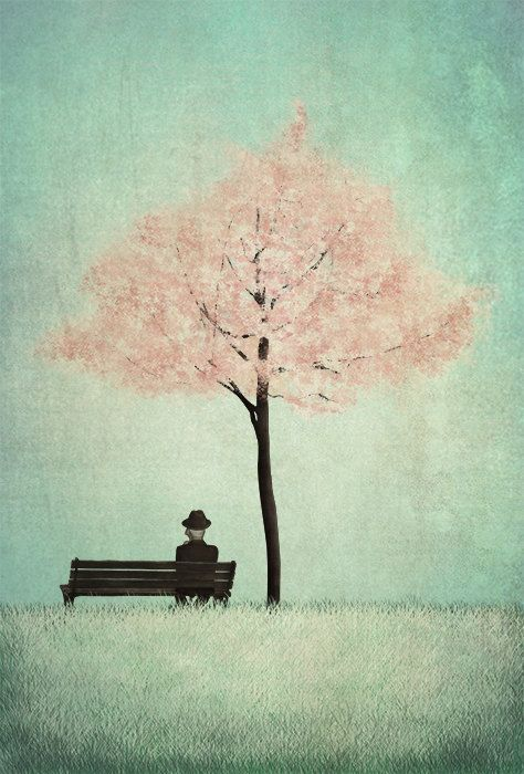 Under the cherry tree  Spring  Illustration print size by majalin, kr110.00