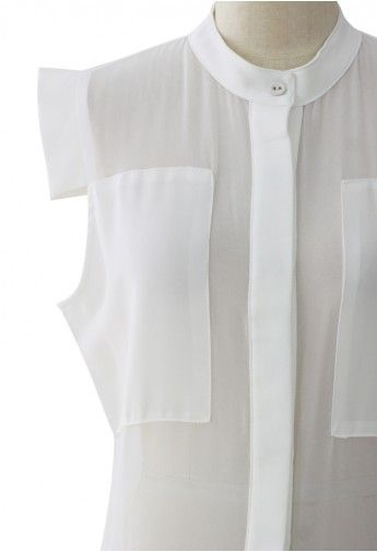 sheer paneled chiffon playsuit in white