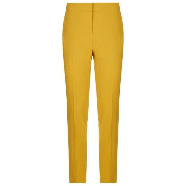 Pinko Pelin Cigarette Trousers (1.510 VEF) ❤ liked on Polyvore featuring pants, cigarette trousers, mustard yellow pants, cigarette pants, mustard pants and yellow pants