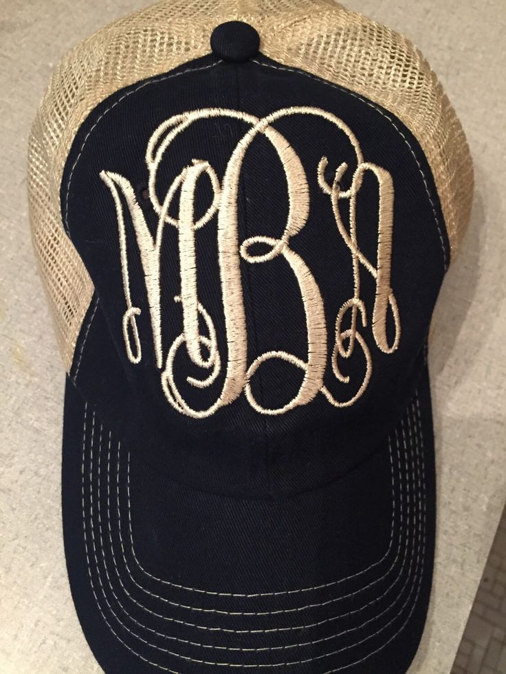 A personal favorite from my Etsy shop https://www.etsy.com/listing/248729698/monogrammed-trucker-hat