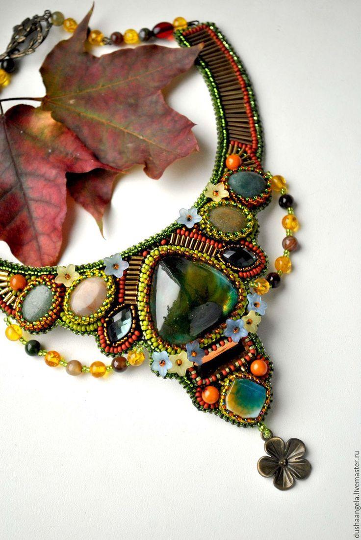 """Купить колье из бисера и камней """"Осенние цветы"""" - оливковый, колье, украшение на шею, украшения"""