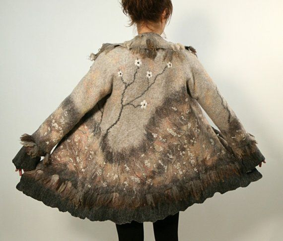 Hand felted wool coat jacket SAKURA