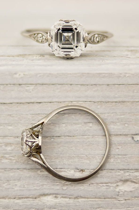 Vintage Asscher Cut Diamond Engagement Ring by Tiffany and Co #artdeco