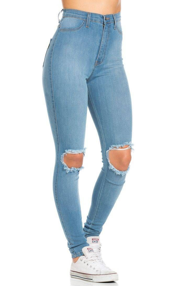Ripped Knee Super High Waisted Skinny Jeans in Light Blue(Plus Sizes Available)