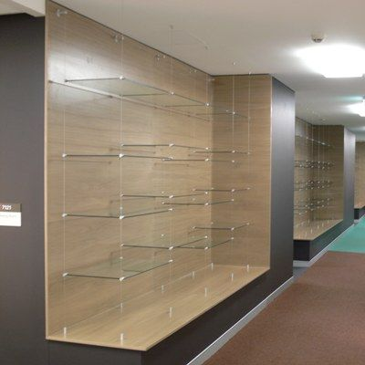 Suspended Glass Shelving Mustang Cable And Rod Shelving