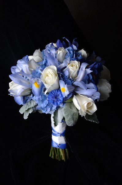 iris blue wedding flower bouquet, bridal bouquet, wedding flowers, add pic source on comment and we will update it. www.myfloweraffair.com can create this beautiful wedding flower look.