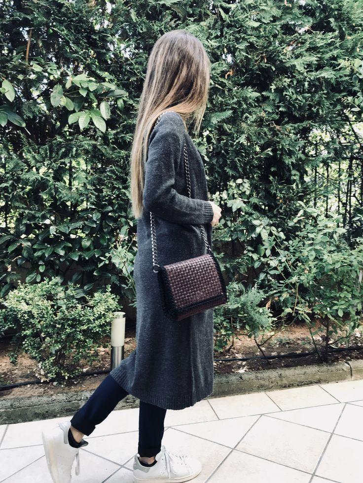 Handmade leather and crochet bag