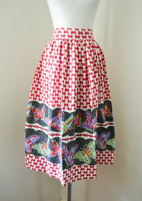 1950s Novelty print butterfly cotton skirt in red / green / purple , 50s Border print - M