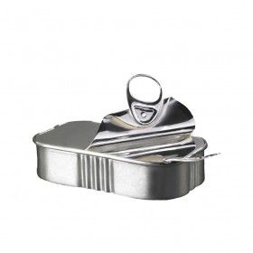 Sardine Condiment Pot by Rebecca Joselyn from miratis.com.    A twist on the traditional condiment pot, this silver sardine can is a unique piece of tableware for lovers of contemporary design  Sterling silver Length: 9.5cm Width: 5.5cm