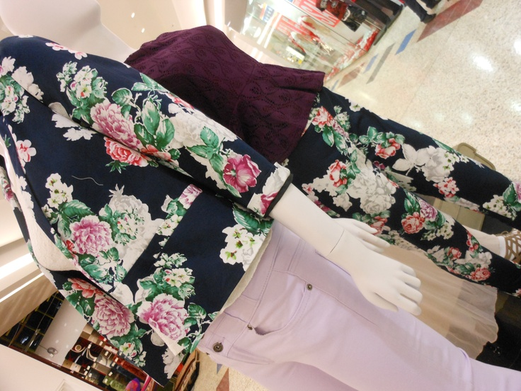 Love this Floral Blazer & Lilac Jeans combination from Ally Fashion! Can tie this in with a White Lace Peplum top and black Lounge Slippers from Betts!