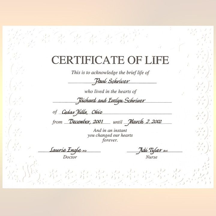 Personalized Miscarriage Certificate Of Life This Should