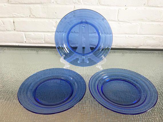 Hazel Atlas Moderntone Cobalt Blue Dinner Plates