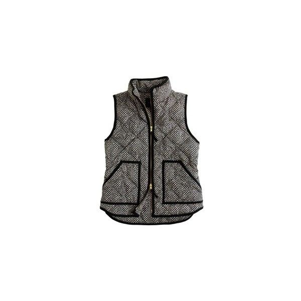 What I Bought Today Herringbone excursion vest J. Crew Factory ❤ liked on Polyvore featuring outerwear, vests, jackets, tops, vest waistcoat, herringbone vest, black vest, j.crew vest et j.crew