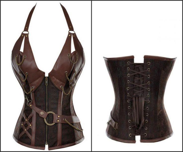 Vintage Brown Plus Size Faux leather Halter Neck Bustier Steampunk Corset  S-6XL