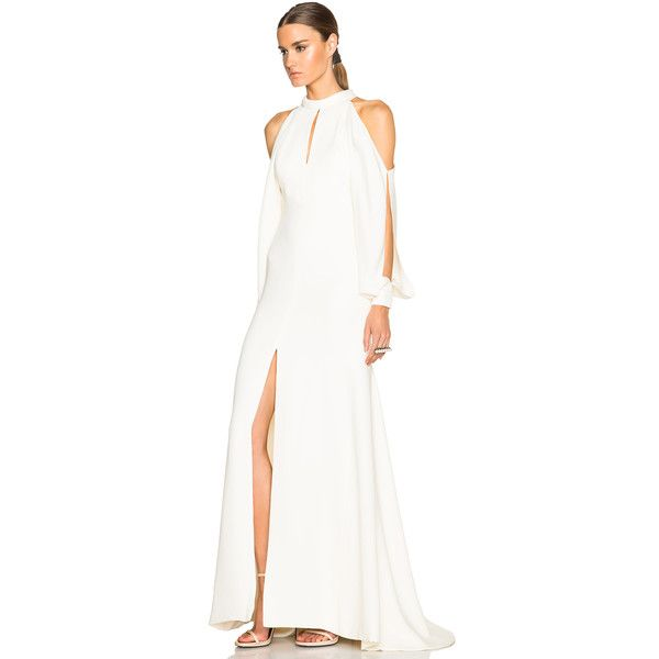 J. Mendel Crepe High Neck Gown with Cutaway Sleeves (14.480 VEF) ❤ liked on Polyvore featuring dresses, gowns, white ball gowns, sleeved evening gowns, j. mendel dresses, white high neck dress and white sleeve dress