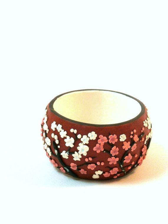 """Red floral bracelet """"Japanese plum blossoms"""" polymer clay cuff by Lijoux"""