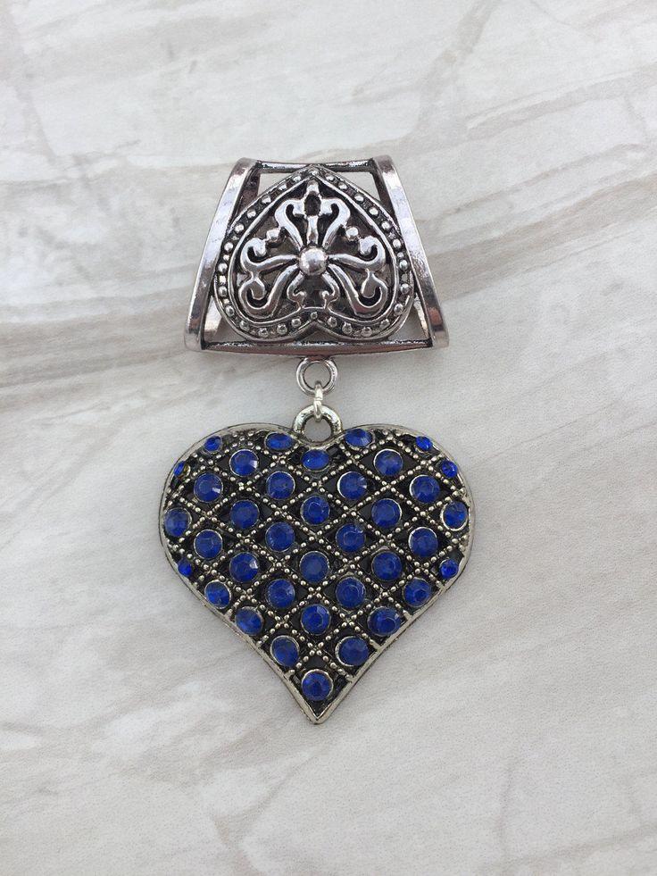 Rhinestone Heart Scarf Bail, Silver scarf bail, scarf pendant, scarf ring, scarf slider, scarf jewelry, scarf jewellery by DianaSianCrafts on Etsy
