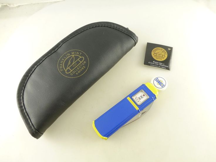 Blue Sunoco Gas Pump Advertising Franklin Mint Collector Pocket Knife in Pouch #BlueSunocoGasOil