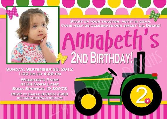 Girl John Deere Birthday Invitations Photo By Lifesdigitaldesigns - John deere 2nd birthday party invitations