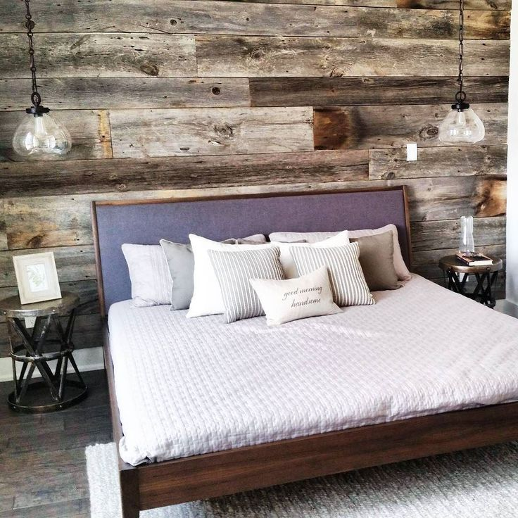 Reclaimed grey barn board feature wall we installed for a model home a while back. 100 plus year old wood adds tons of character and texture to this nicely decorated bedroom. Add some rustic charm to your home or place of business with our many reclaimed wood choices. #featurewall #reclaimed #reclaimedwood #barnwood #Barnboard by: @barnboardstore