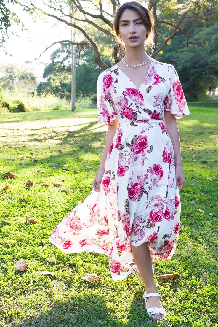 Petal Roses Pink Maxi Wrap Dress