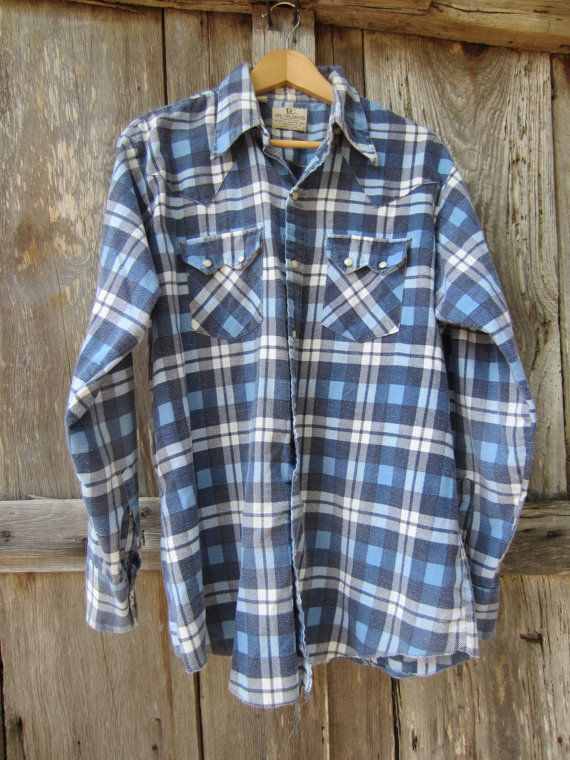 70s Plaid Flannel Western Shirt by Dee Cee Brand, M-L // Mens Vintage Country Western Shirt // Winter Cowboy Shirt