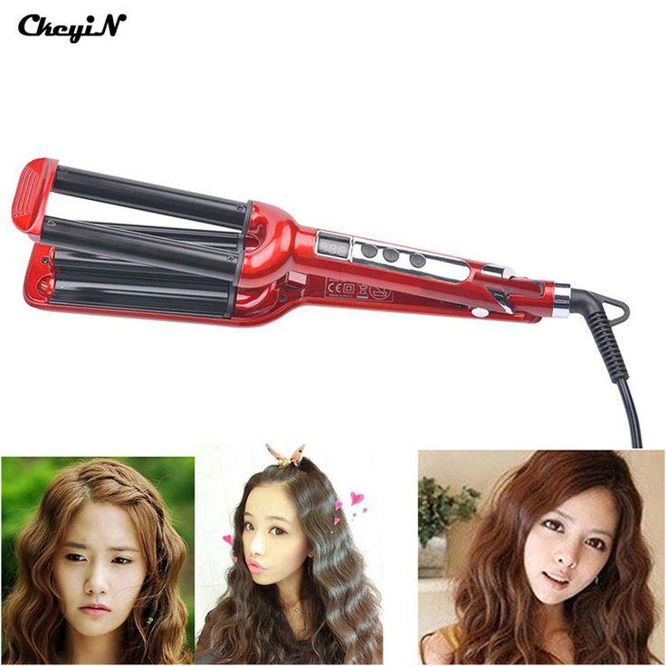 Lcd pro styler rizador de pelo eléctrico de cerámica herramientas de peinado del cabello rizador de pelo rodillo 3 barril vacila corrugadora pinzas p4850