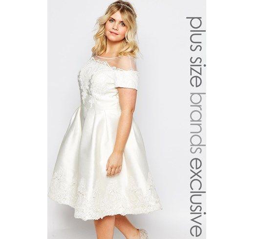 Chi Chi London Plus - Vestito longuette da sposa - Crema matrimonio cerimonia plus size curvy