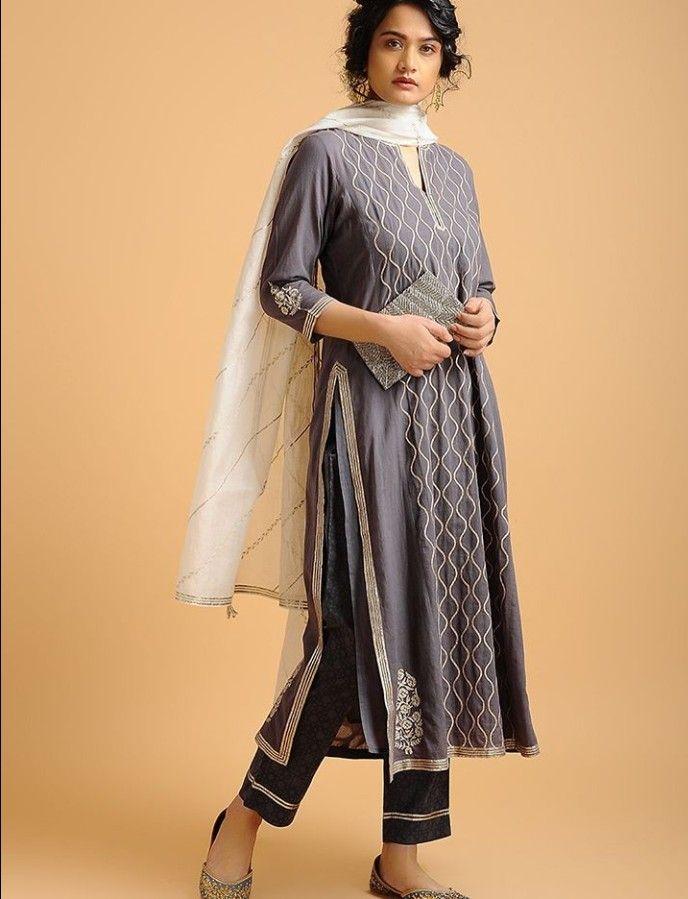 6e9ee28e689fe Beautiful cotton-silk kurti with gota work embellishments. | Kurtis ...