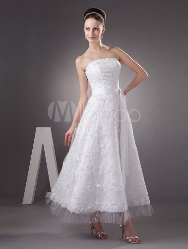 Mini Robe de mariée d'A-ligne sans écharpe en satin de pongé avec applique de dentelle de perle - Milanoo.com