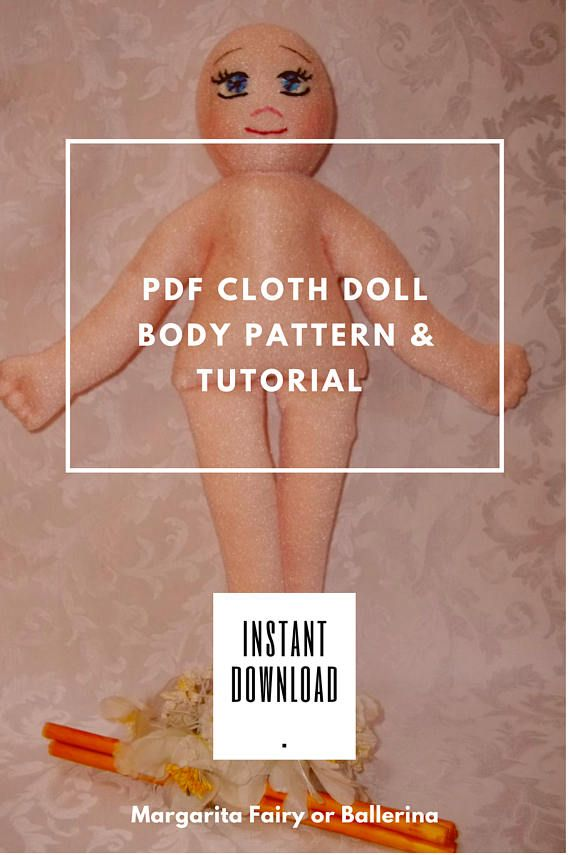 PDF cloth doll body Pattern & Tutorial Hand Embroidery Doll