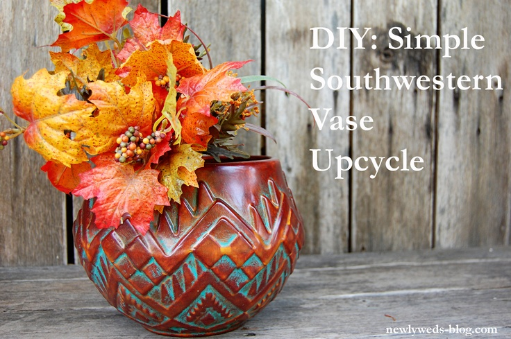 DIY: Simple Southwestern Vase Upcycle- fun way to spruce up a garage sale find.