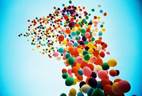 Balloons taking flight
