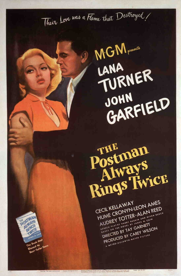 The Postman Always Rings Twice (One-sheet poster featuring John Garfield as Frank Chambers and Lana Turner as Cora Smith; Turner Classic Movies)