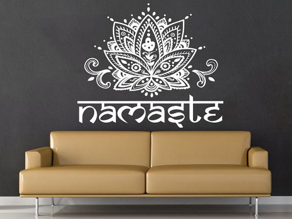 Mandala Wall Decal Namaste Blume Mandala Indian Lotus Yoga Wall Decals Vinyl Aufkleber Interior Home Decor Art Wall Decor Schlafzimmer SV6277
