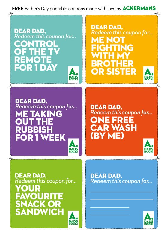 Does Dad need help with a project? Or maybe he just wants to be boss of the TV remote for a day?  Download these free printable Father's Day coupons.