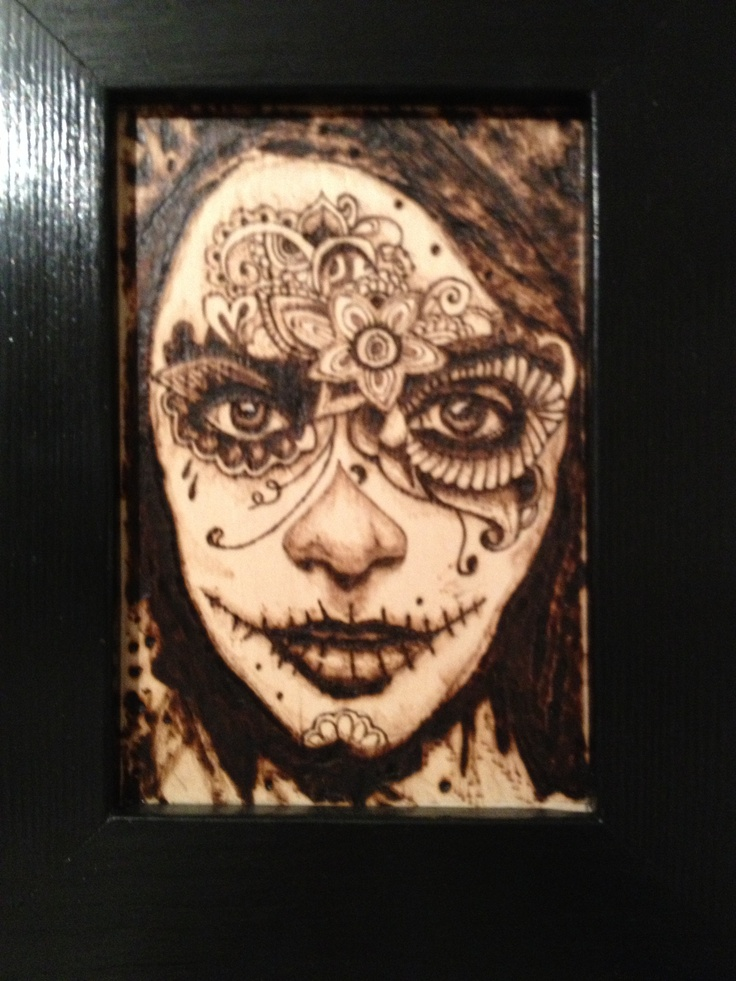 Pyrography- wood burning, day of the dead by Martin peacock
