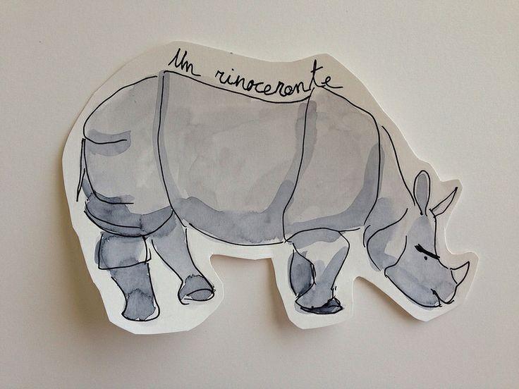 Rhinoceros for a story-telling. Rinoceronte para un cuenta-cuentos by Elena Calonje #illustration #ilustracion #watercolor #acuarela #rhinoceros #rinoceronte
