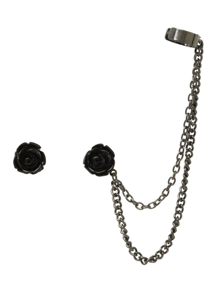 Black Rose Cuff Earrings | Hot Topic