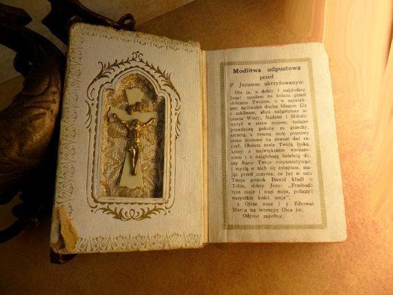 Vintage Celluloid child's prayer book catholic missal Communion book...