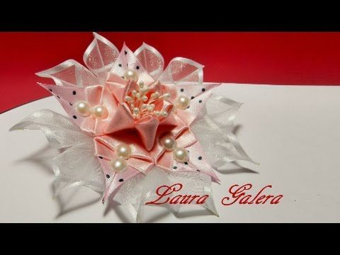 Ribbon flower handmade - YouTube